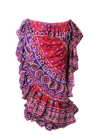 Hyderabadi design skirt Blue/Burgundy