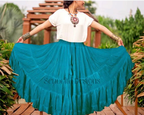 Solid color Skirt teal 100% cotton