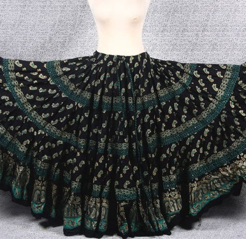 10% OFF Block print Skirt green