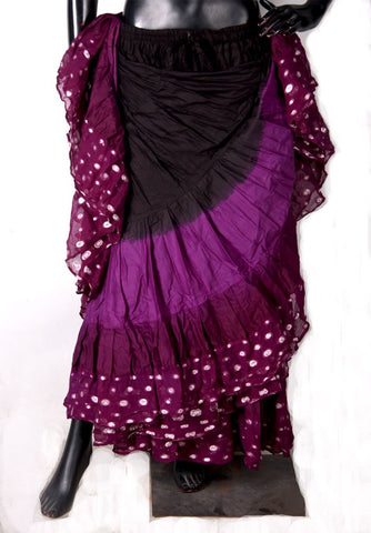 Wow Sari Bindi border Skirt purple/black