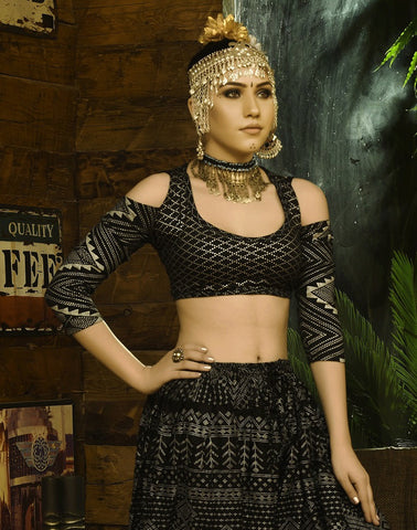 Block print assuit pattern choli drop shoulder black/silver