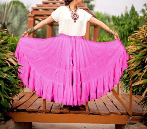 Solid color Skirt pink 100% cotton