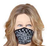 Face cloth mask black white