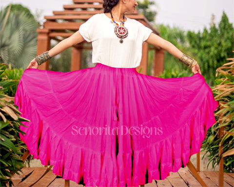 Solid color Skirt fuchsia 100% cotton
