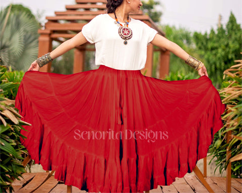 Solid color Skirt red 100% cotton