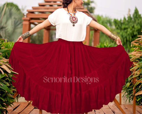 Solid color Skirt burgundy 100% cotton