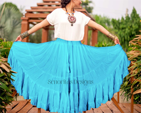 Solid color Skirt turquoise 100% cotton
