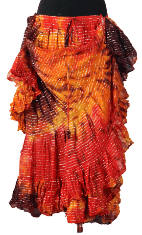 Lurex Marble Tye Dyed Batik skirt Sunset