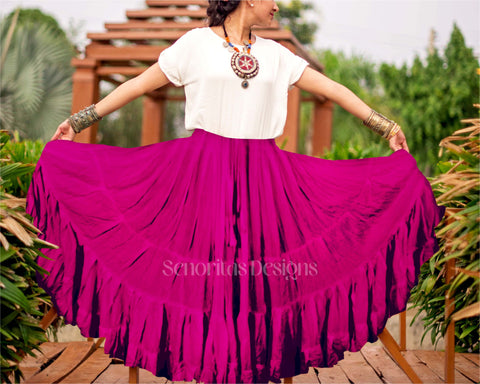 Solid color Skirt magenta 100% cotton