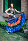 Bollywood skirt orange blue