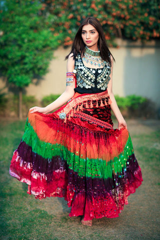 Bollywood skirt multi pink