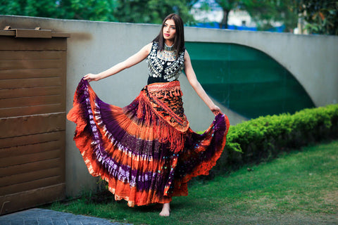 Bollywood skirt orange purple