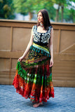 Bollywood skirt brown red green