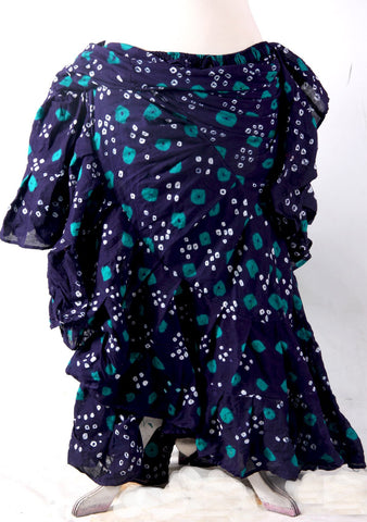 Jaipur Skirt Navy Blue With Sea green Dots  25 yards