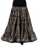 Block print assuit skirt olive/silver in polyester