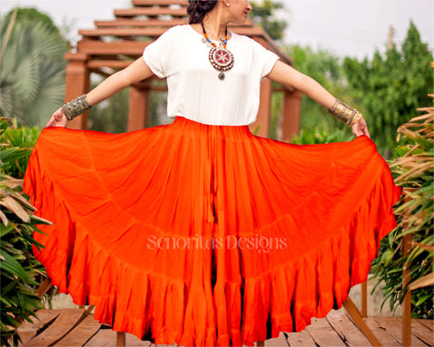 Solid color Skirt orange 100% cotton