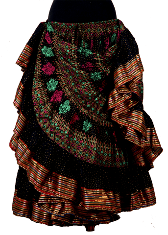 Block print skirt cross stitch with Padma border