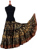 Block print metallic peacock Padma skirt