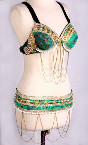 peacock base bra belt set