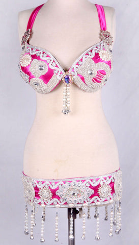 Belly Dance Bra Belt Bright Pink