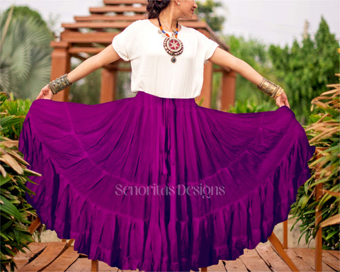 Solid color Skirt purple 100% cotton