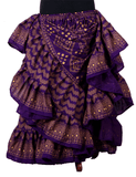 Block print assuit skirt purple/gold in polyester