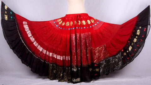 Bollywood skirt red black