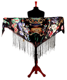 Digital printed Real 8mm Silk Hip scarf cum shawl  with fringe 2020 Collection Black Beauty