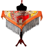 Digital printed Real 8mm Silk Hip scarf cum shawl  with fringe 2020 Collection Tangerine