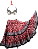 Block Print Skirt Burgundy/black