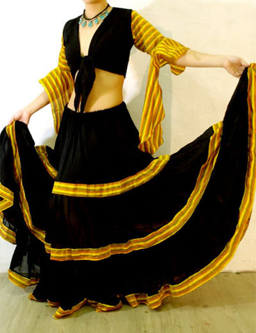 Tribal Gypsy Stripe 2 pcs Set Black/Gold