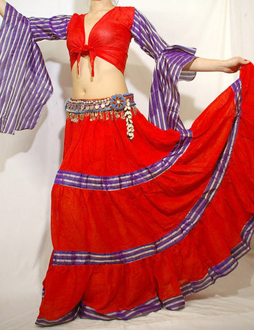 Tribal Gypsy Stripe 2 pcs Set Red/Purple