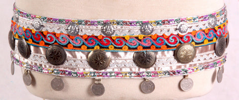 Tribal Kuchi brass button belt