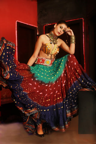Bollywood skirt seagreen/burgundy/darkblue with padma border