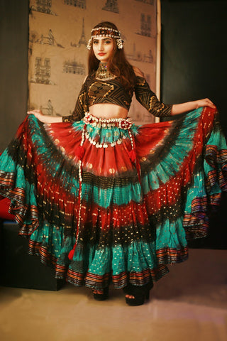 Bollywood layer skirt seagreen red black
