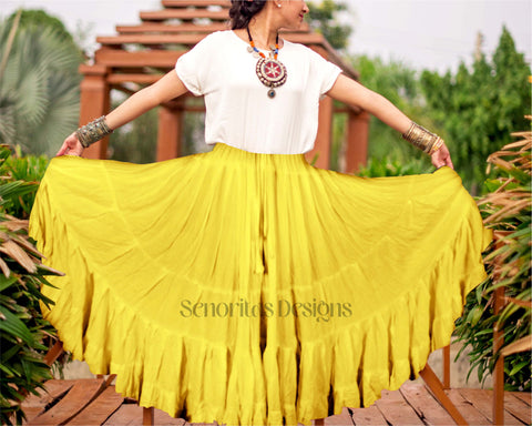 Solid color Skirt yellow 100% cotton