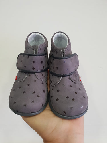 Emel Single Velcro Casual Shoes - grey with stars