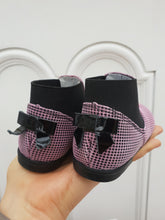 Emel Black&Pink Check Boots with bow