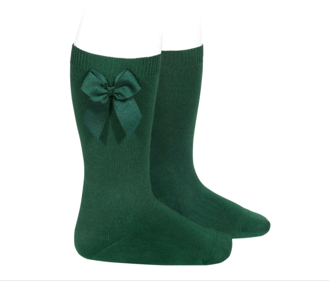 Condor Knee High Socks with Grossgrain Bow - Green