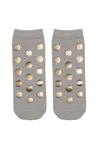 Blink blink -  socks with golden polka dot (grey)