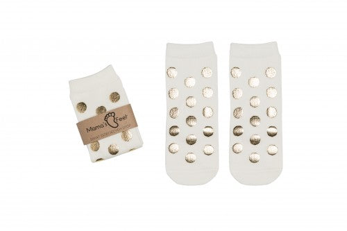 Blink blink -  socks with golden polka dot (white)