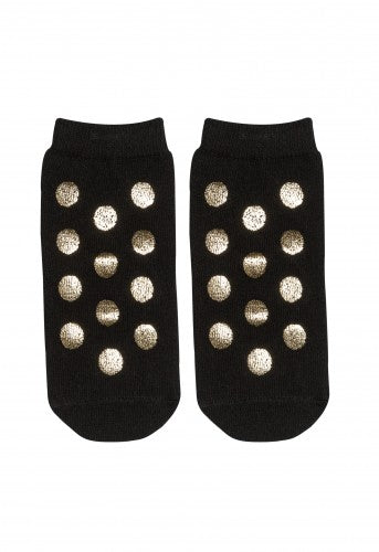 Blink blink -  socks with golden polka dot (black)
