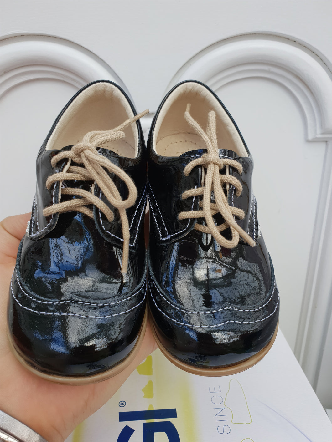 Emel Black Patent Lace Up Casual Shoes