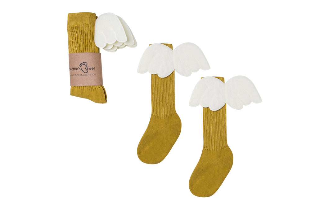 Mama's Feet Mustard Angels - Knee-high socks with wings (Mustard)