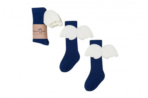 Mama's Feet Navy Blue Angels - Knee-high socks with wings (Navy)