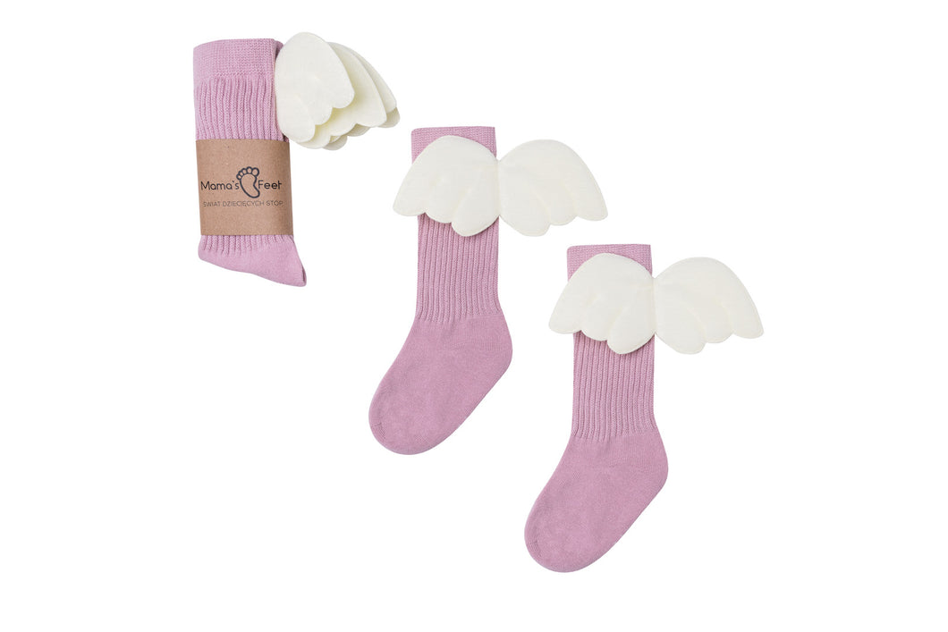 Mama's Feet Pink Angels - Knee-high socks with wings (Pink)