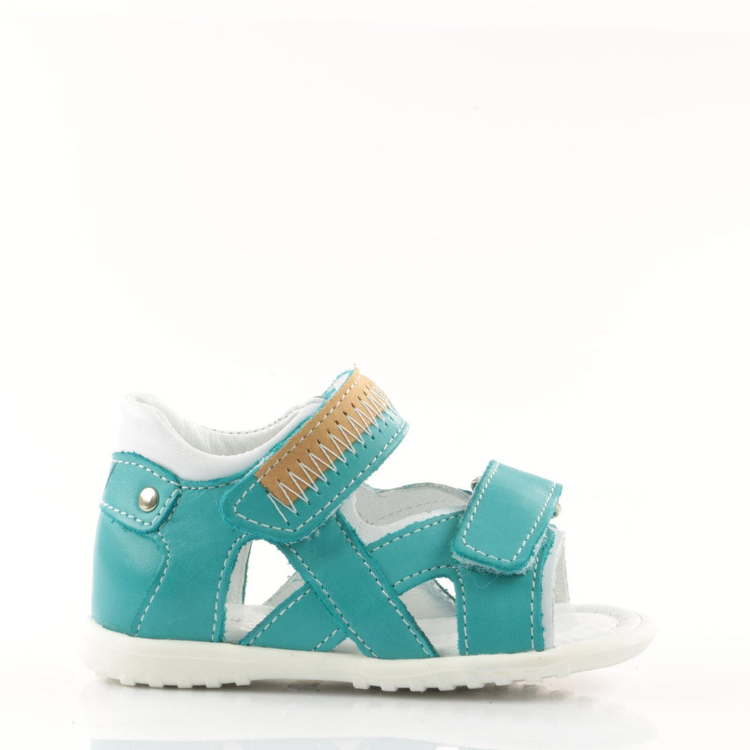 Emel Blue Leather Double Velcro Sandals