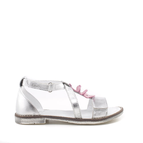 Emel Girls handmade silver Sandals with pink flowers