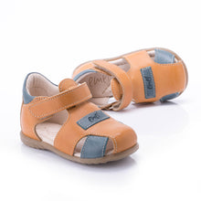 Emel Leather Closed Toe Velcro Sandals - Yellow