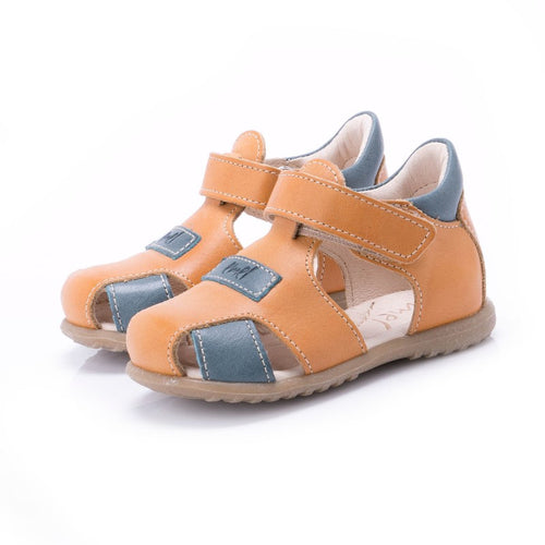 389a07641 Emel Leather Closed Toe Velcro Sandals - Yellow